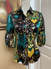 LADIES BABY PHAT Size S Unique Fashion BLOUSE Top Shirt Green Brown Yellow