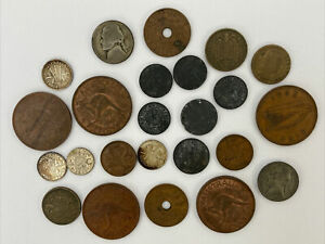 Vintage 1940s WW2 World Coin Lot Of 24 Pieces Unknown? Coins  👀