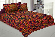 Indian Cotton Mandala Queen Size Bedding Set Ethnic Bedsheet With Pillow Cover