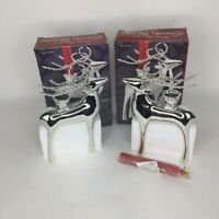 Giftco Inc Silver Reindeer Taper Candle Holders Lot of 2
