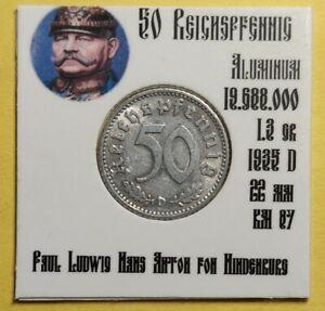 💰 1935 A Germany 50 Reichspfennig Third Reich Aluminium coin #265