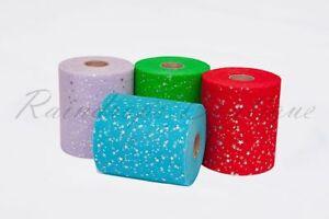 """Tutu TULLE ROLLS 6"""" x 100 yds Sequin Star Hologram Laser Craft Fabric EN71 test"""