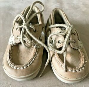 Toddler Boy's Tan Sperry Top-Siders SIZE 3m Boat Shoes Slip On