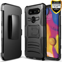 For LG G8 ThinQ Phone Case, Dual Layers Belt Clip Combo+Glass Screen+Stylus