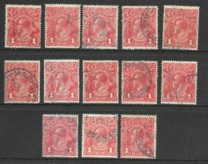 Stamps Australia 1d Red KGV Heads Blue Postmark Selection x 13 Fine Used