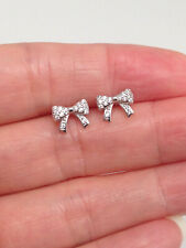 925 Sterling Silver Tiny Cz Bow Stud Earrings 8mm for Kids Girls