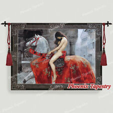 """Lady Godiva Medieval Old World Tapestry Wall Hanging, Cotton 100%, 55""""x39"""", UK"""