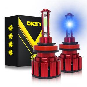 2Pcs 4 Sides H11 LED Headlight High or Low Beam Bulbs 200W 32000LM 8000K Blue