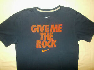 NIKE GIVE ME THE ROCK SHORT SLEEVE NAVY BLUE T-SHIRT MENS LARGE EXCELLENT COND.