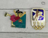 Lot of 2 2002 Salt Lake City Olympic U.S. Figure Skating Pins