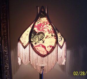 Vintage Victorian Floral Fringe Scalloped Lamp Shade
