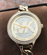 NWT Women's Michael Kors Outlets Crystal Pave/ Chain Link Watch MK3474 Gold Tone