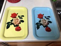 2 TV Tray Vintage Metal Floral Lap Bed Tray14x9