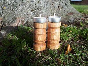 Pair Rustic Turned Tea light Pillar Candle Holders Solid Oak Wooden