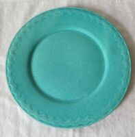 """Vintage Turquoise Stoneware Pottery 10"""" Dinner Plate Embossed Wavy Zigzag Lines"""