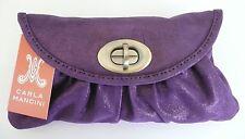Carla Mancini Sidney Clutch Purse Bag Purple Shimmer Leather Removable Strap NWT