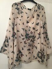 Topshop Butterfly Print Blouse Top Flared  Sleeves