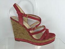 LK Bennett Womens Red Leather Wedges 40