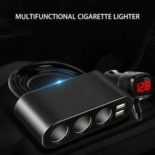 3Way Car Cigarette Lighter Socket Splitter Dual USB Charger 12/24V Power Adapter