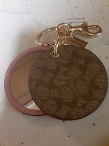 COACH Mirror Bag Charm Key Chain In Signature Canvas Gold/Khaki Pink F77961 NWT