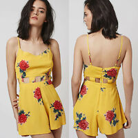 NEW Ex TOPSHOP Yellow Floral Cut-Out Playsuit Summer Beach Sizes 6 8 10 12 14