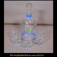 Art Deco Made in Czechoslovakia 6pc Decanter Set Enameled Floral Decoration