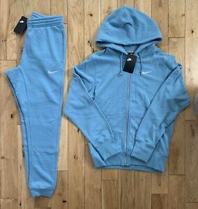 Nike Cerulean Blue Full Tracksuit Fleece Full Zip Hoodie Joggers Size Large