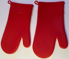 2 Red Silicone Oven Mitts