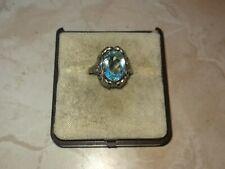 Antiker Silber Ring mit aquamarinfarbenen Stein