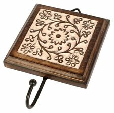 Mango Wood Single Coat Wall Hook with Floral Whitewash Effect Handmade in India