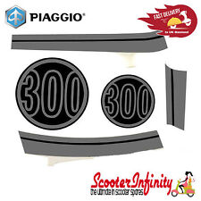 Sticker Decoration Trim for Vespa GTS Super 300 Lucido 094,  grey/black, 5-parts