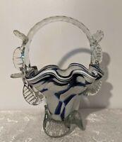Hand Blown Studio Art Glass Basket - Cobalt Blue & White Swirls - Applied Handle