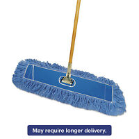 "Boardwalk Looped-End Dust Mop Kit 24 x 5 60"" Metal/Wood Handle Blue/Natural"