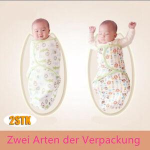 2x Baby Swaddle Wrap Pucktuch Baumwolle Wickeltuch Pucksack Schlafsack 0-6 Monat