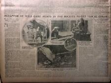Mar 27, 1910 Newspaper Pg #Lj7428- Big Game Hunter Sculpts Wild Game, Taxidermy