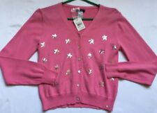 Fred Bare Girls' Party Pink Cardigan Sweater, Size 10, Silver Stars, Long Sleeve