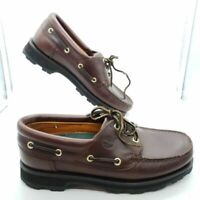 Timberland Men's Brown Leather 3-Eye Oxford Classic Lug Boat Shoes Size 8.5M