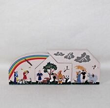 "1996 Faline '98 Cat's Meow ""Noahs Ark Rainbow"" Set Of 3 Shelf Sitter Signed"