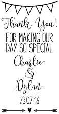 Personalised Laser Rubber Stamp - Bunting Wedding Thank You (Tag Size)