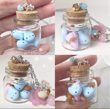 Cute Rain Umbrella Glass Jar Necklace Kawaii Fimo Polymer Clay Bijoux Handmade