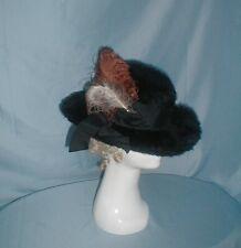Antique Vintage Hat 1912 Edwardian Black Fur Feather Trim