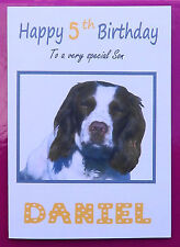 ENGLISH SPANIEL Dogs PERSONALISED Happy Birthday Card (Son, Daughter, Mum, Dad..