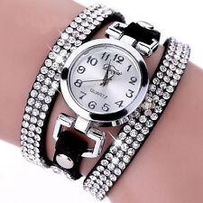 FL:Armbanduhr Damen Wickelarmband Quarzuhr Oval Strass Analog Lederband M10539
