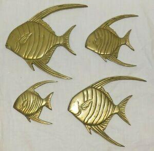Brass Angelfish Wall Hanging Art Figures Angel Fish Set of 4 nautical ocean bath