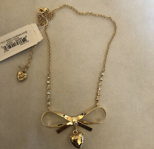 Betsey Johnson Gold Tone Bow With Dangly Heart Pendant Necklace NWT