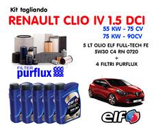 KIT TAGLIANDO OLIO ELF 5W30 5LT + 4 FILTRI PURFLUX RENAULT CLIO IV 1.5 DCI