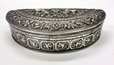 Antique Indonesian Yogyakarta Half Moon Silver Repousse Box