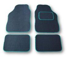 FORD FIESTA ALL MODELS UNIVERSAL Car Floor Mats Black Carpet & Green Trim