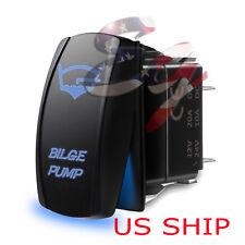LED Waterproof BLUE ROCKER SWITCH LASER ETCHED 12v 20a LED Bilge Pump LIGHT CAR
