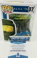 STEVE DOWNES JEN TAYLOR SIGNED MASTER CHIEF CORTANA FUNKO 07 BAS M62068 HALO